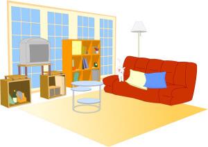 赤いソファーとテレビと茶色の棚と絨毯
