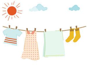 晴れの日に干す洗濯物