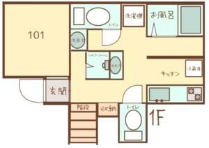 WAKAMIYAハウス 新間取り図1階 シェアハウス 女性限定 初めての一人暮らし