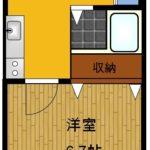 1 洋室6.7帖と2口コンロのキッチンバストイレ別独立洗面台の図