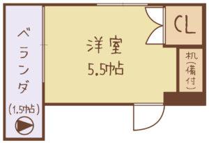 中野区賃貸アパートシェアハウス女性専用5.5帖間取り