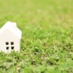 緑の草むらに白い煙突付の戸建て住宅