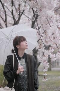 桜花見をする女性