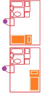 一人暮らしワンルームの間取り図2枚ベットの向き