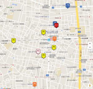 高円寺のスーパーマーケットマップ