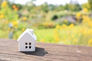 緑と黄色の花と植物と白い煙突の家