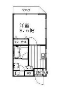 forte 201号室 中野区若宮3丁目 賃貸物件 都立家政駅 間取り図