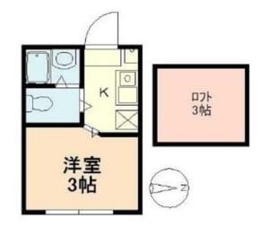 アジュール中野 202号室 中野区中野3丁目 賃貸物件 中野駅 間取り図