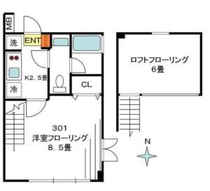 ガーデンヴィラ方南 301号室 杉並区方南2丁目 賃貸物件 間取り図
